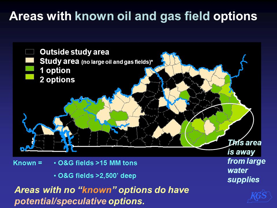 Known = O&G fields >15 MM tons O&G fields >2,500' deep Areas with known oil and gas field options Outside study area Study area (no large oil and gas