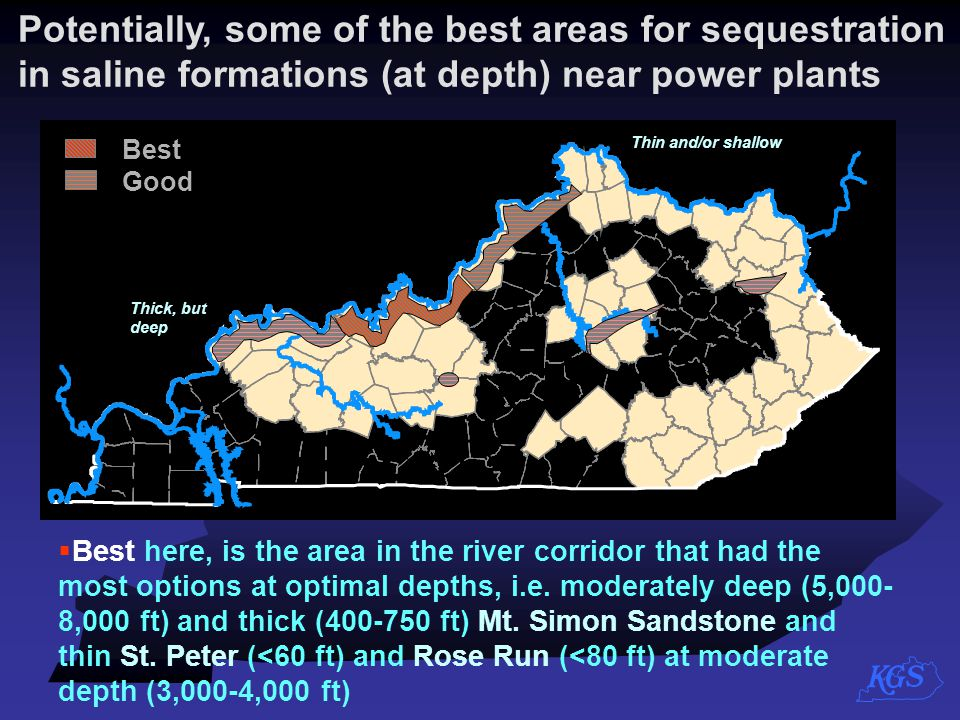 Potentially, some of the best areas for sequestration in saline formations (at depth) near power plants  Best here, is the area in the river corridor