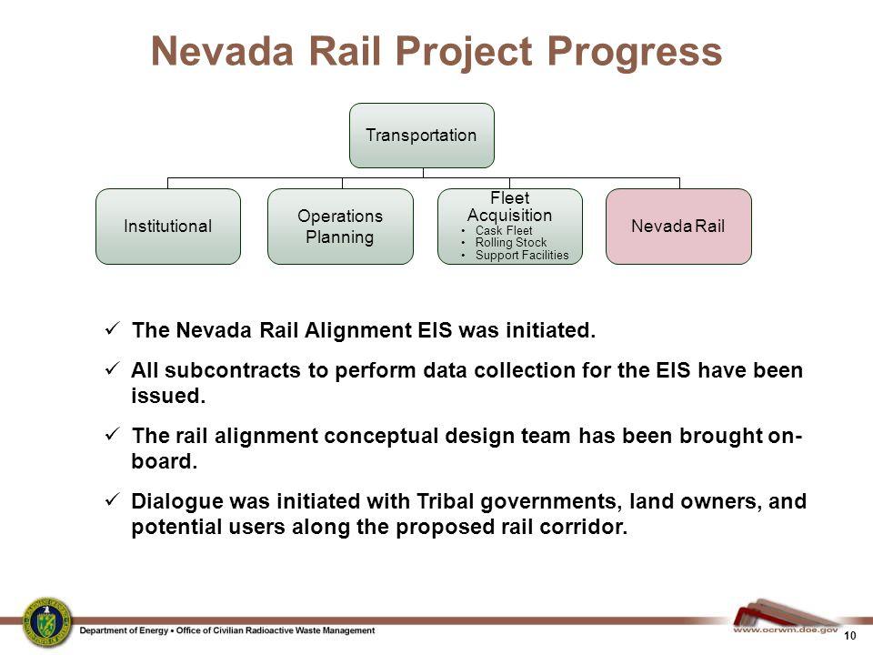 10 Nevada Rail Project Progress Transportation Fleet Acquisition Cask Fleet Rolling Stock Support Facilities Operations Planning Nevada RailInstitutio
