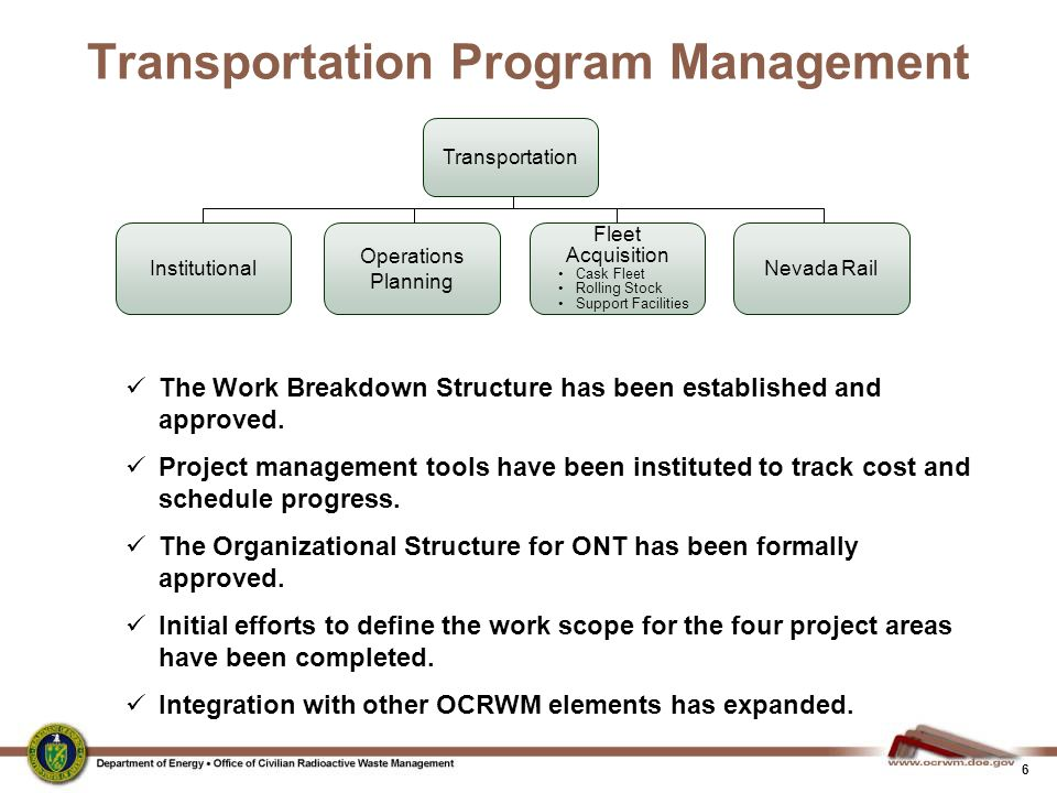 17 Transportation External Coordination (TEC) Working Group  OCRWM co-chairs the TEC with the DOE's Environmental Management Program.