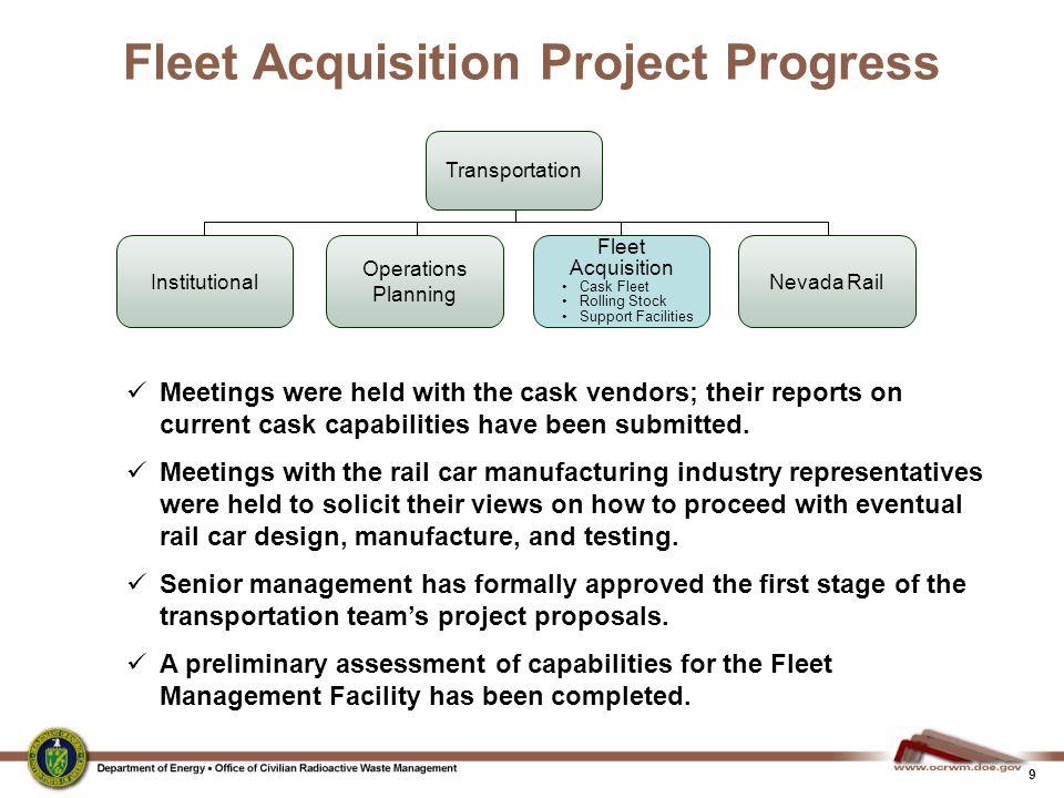 9 Fleet Acquisition Project Progress Transportation Fleet Acquisition Cask Fleet Rolling Stock Support Facilities Operations Planning Nevada RailInsti