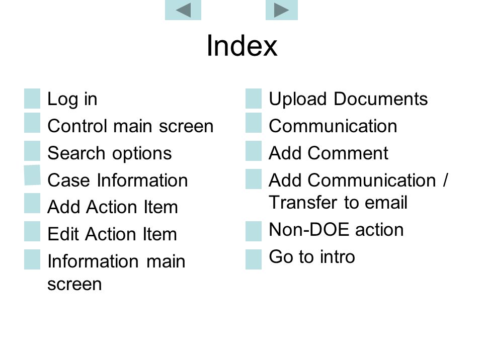 Index Log in Control main screen Search options Case Information Add Action Item Edit Action Item Information main screen Upload Documents Communicati