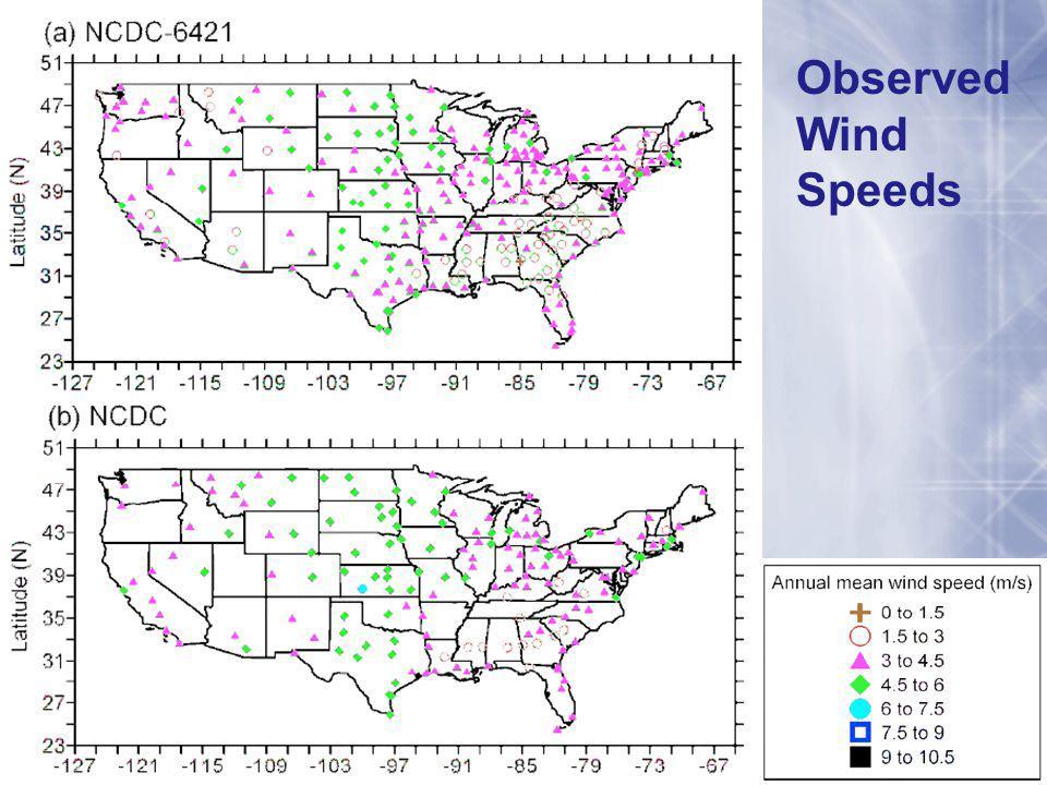Observed Wind Speeds