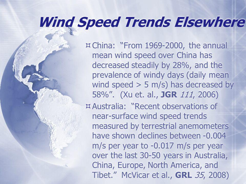 Wind Speed Trends Elsewhere  China: From 1969-2000, the annual mean wind speed over China has decreased steadily by 28%, and the prevalence of windy days (daily mean wind speed > 5 m/s) has decreased by 58% .