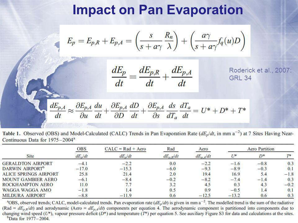Impact on Pan Evaporation Roderick et al., 2007: GRL 34