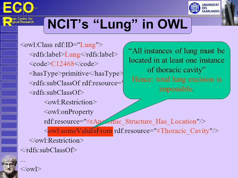 ECO R European Centre for Ontological Research NCIT's Lung in OWL Lung C12468 primitive <owl:onProperty rdf:resource= #rAnatomic_Structure_Has_Location />...