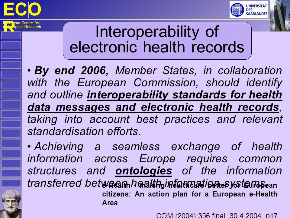 ECO R European Centre for Ontological Research Interoperability of electronic health records By end 2006, Member States, in collaboration with the Eur