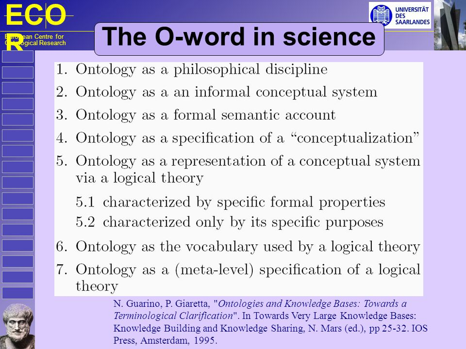 ECO R European Centre for Ontological Research The O-word in science N. Guarino, P. Giaretta,