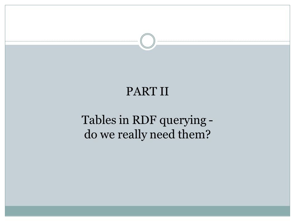 PART II Tables in RDF querying - do we really need them
