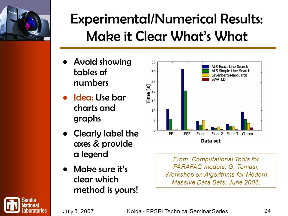July 3, 2007Kolda - EPSRI Technical Seminar Series 23 Theoretical Results: Help Audience Untangle the Science Theoretical results tough to follow –Especially for non-specialists Explain impact as well as the results themselves Only present proofs if key to central message Idea: Highlight key variables/ideas/etc.