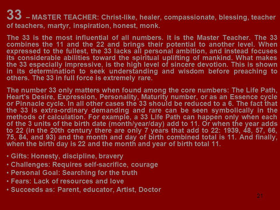 21 33 – MASTER TEACHER: Christ-like, healer, compassionate, blessing, teacher of teachers, martyr, inspiration, honest, monk.