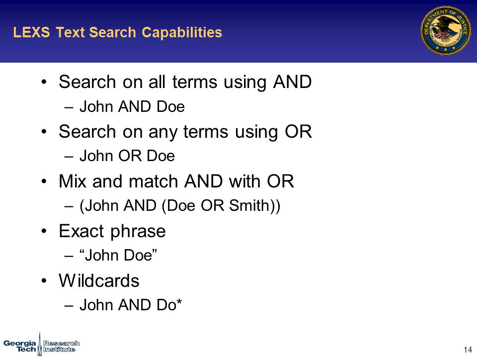 14 LEXS Text Search Capabilities Search on all terms using AND –John AND Doe Search on any terms using OR –John OR Doe Mix and match AND with OR –(John AND (Doe OR Smith)) Exact phrase – John Doe Wildcards –John AND Do*