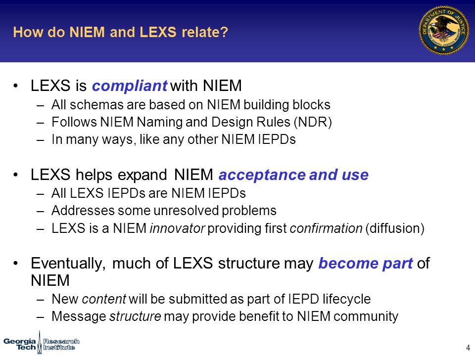 4 How do NIEM and LEXS relate.