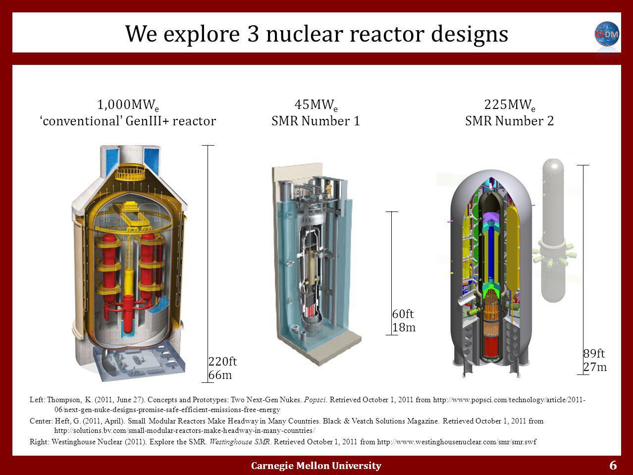 6 We explore 3 nuclear reactor designs Carnegie Mellon University Scenario 1: 1,000MW e 'conventional' GenIII+ reactor Scenario 2: 45MW e SMR Number 1 Scenario 5: 225MW e SMR Number 2 Left: Thompson, K.