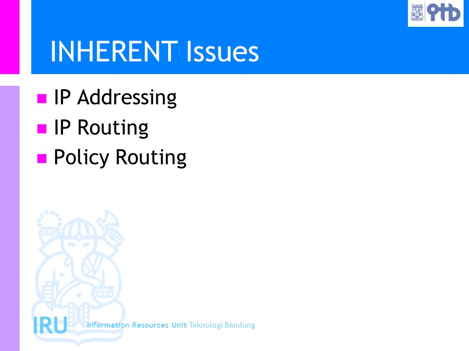 Information Resources Unit Teknologi Bandung IRU INHERENT Issues IP Addressing IP Routing Policy Routing
