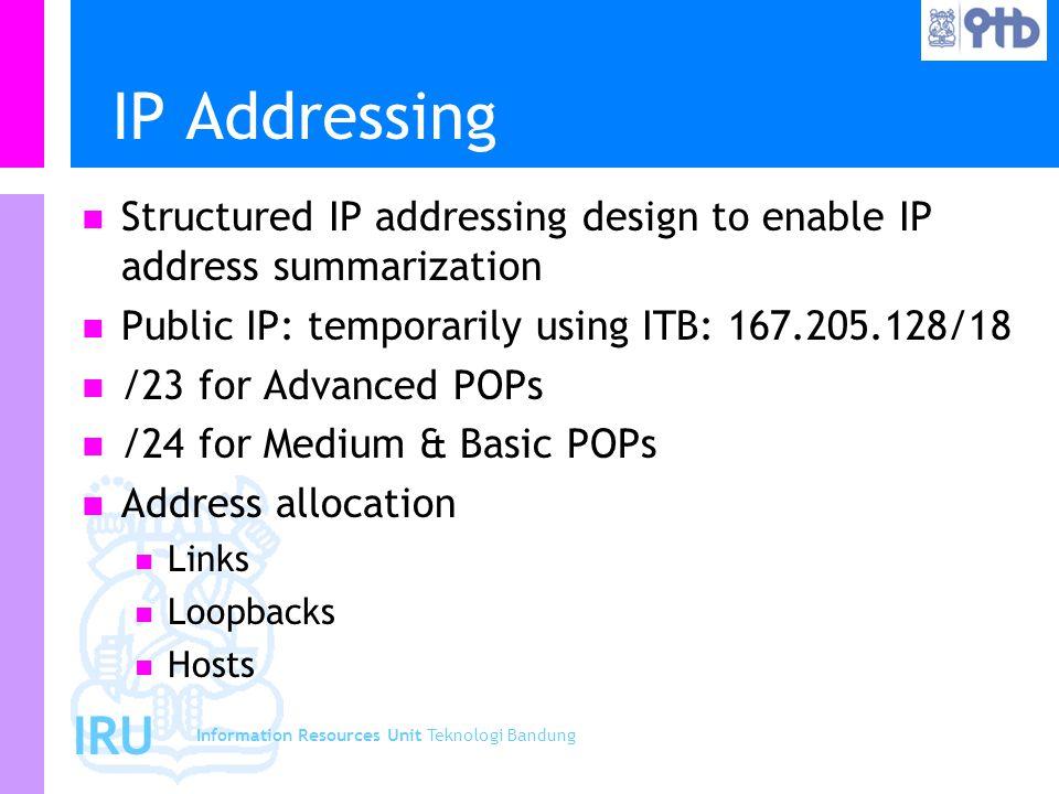 Information Resources Unit Teknologi Bandung IRU IP Addressing Structured IP addressing design to enable IP address summarization Public IP: temporarily using ITB: 167.205.128/18 /23 for Advanced POPs /24 for Medium & Basic POPs Address allocation Links Loopbacks Hosts