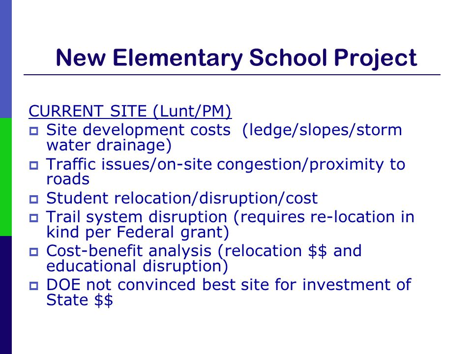 New Elementary School Project CURRENT SITE (Lunt/PM)  Site development costs (ledge/slopes/storm water drainage)  Traffic issues/on-site congestion/