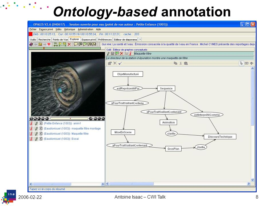 2006-02-22 Antoine Isaac – CWI Talk8 Ontology-based annotation