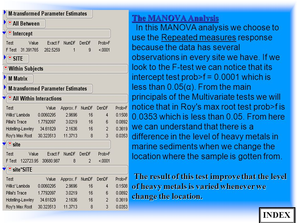 The MANOVA Analysis The result of this test improve that the level of heavy metals is varied whenever we change the location.