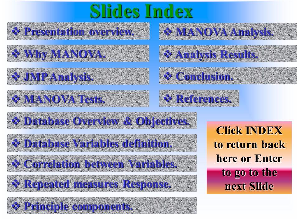 Slides Index  Presentation overview. Presentation overview.