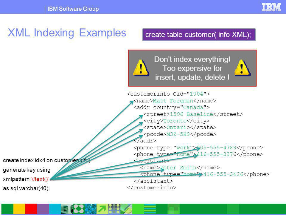 IBM Software Group XML Indexing Examples create index idx4 on customer(info) generate key using xmlpattern //text() as sql varchar(40); Matt Foreman 1596 Baseline Toronto Ontario M3Z-5H9 905-555-4789 416-555-3376 Peter Smith 416-555-3426 create table customer( info XML);