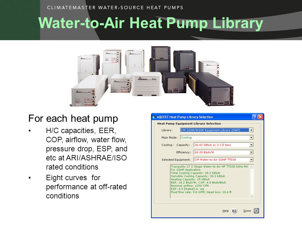 For each heat pump H/C capacities, EER, COP, airflow, water flow, pressure drop, ESP, and etc at ARI/ASHRAE/ISO rated conditions Eight curves for performance at off-rated conditions Water-to-Air Heat Pump Library