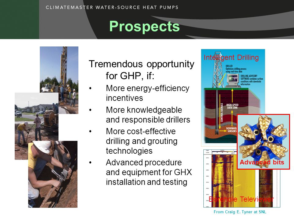 Tremendous opportunity for GHP, if: More energy-efficiency incentives More knowledgeable and responsible drillers More cost-effective drilling and grouting technologies Advanced procedure and equipment for GHX installation and testing Prospects Borehole Televiewer Intelligent Drilling Advanced bits From Craig E.