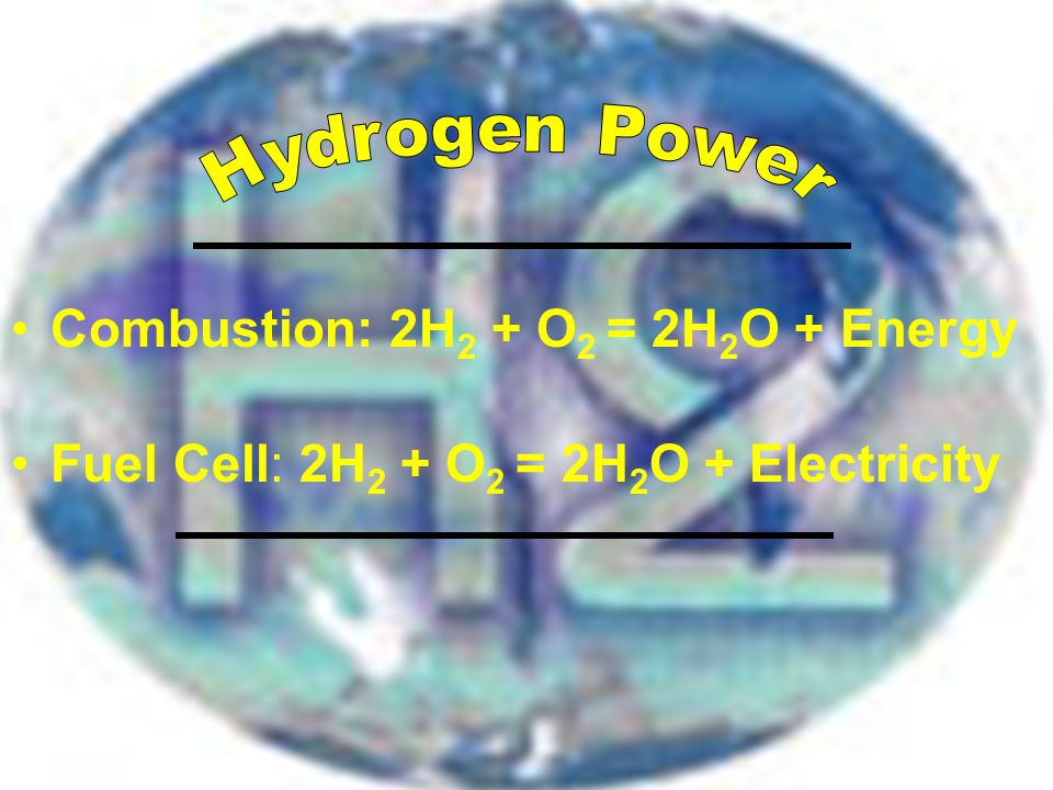 Combustion: 2H 2 + O 2 = 2H 2 O + Energy Fuel Cell: 2H 2 + O 2 = 2H 2 O + Electricity