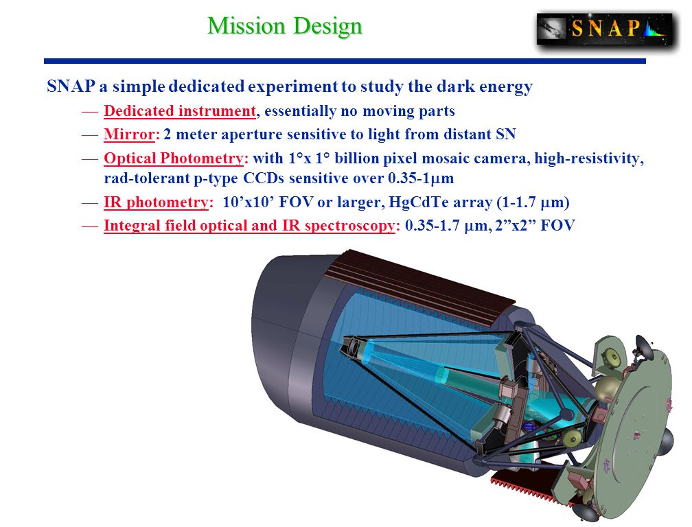SNAP a simple dedicated experiment to study the dark energy —Dedicated instrument, essentially no moving parts —Mirror: 2 meter aperture sensitive to light from distant SN —Optical Photometry: with 1°x 1° billion pixel mosaic camera, high-resistivity, rad-tolerant p-type CCDs sensitive over 0.35-1  m —IR photometry: 10'x10' FOV or larger, HgCdTe array (1-1.7  m) —Integral field optical and IR spectroscopy: 0.35-1.7  m, 2 x2 FOV Mission Design