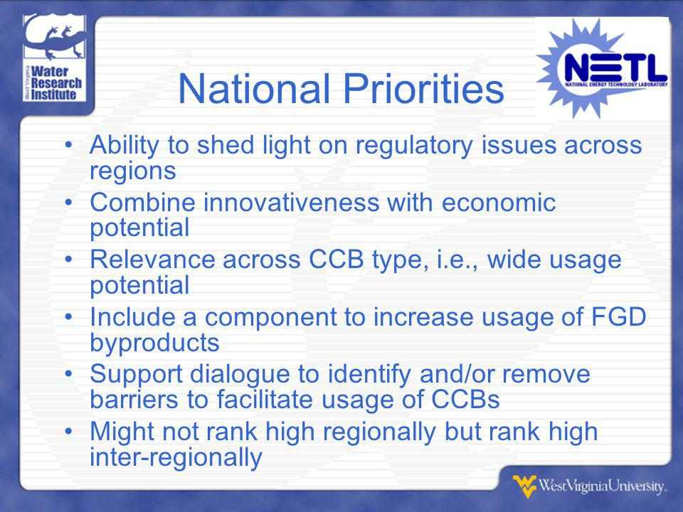 National Priorities Ability to shed light on regulatory issues across regions Combine innovativeness with economic potential Relevance across CCB type, i.e., wide usage potential Include a component to increase usage of FGD byproducts Support dialogue to identify and/or remove barriers to facilitate usage of CCBs Might not rank high regionally but rank high inter-regionally