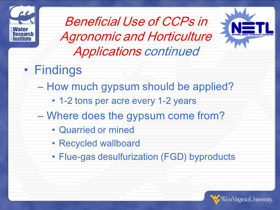 Beneficial Use of CCPs in Agronomic and Horticulture Applications continued Findings –How much gypsum should be applied.