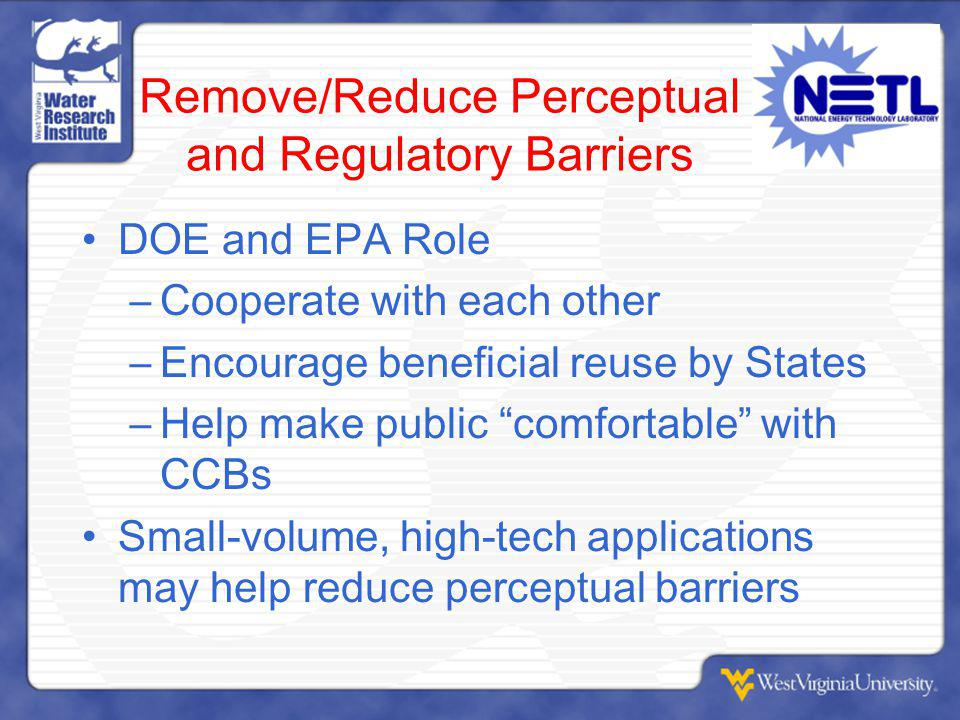 Remove/Reduce Perceptual and Regulatory Barriers DOE and EPA Role –Cooperate with each other –Encourage beneficial reuse by States –Help make public comfortable with CCBs Small-volume, high-tech applications may help reduce perceptual barriers