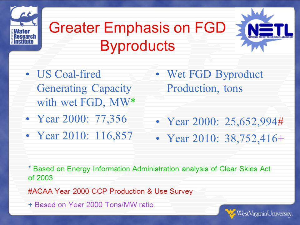 Greater Emphasis on FGD Byproducts US Coal-fired Generating Capacity with wet FGD, MW* Year 2000: 77,356 Year 2010: 116,857 Wet FGD Byproduct Production, tons Year 2000: 25,652,994# Year 2010: 38,752,416+ * Based on Energy Information Administration analysis of Clear Skies Act of 2003 #ACAA Year 2000 CCP Production & Use Survey + Based on Year 2000 Tons/MW ratio