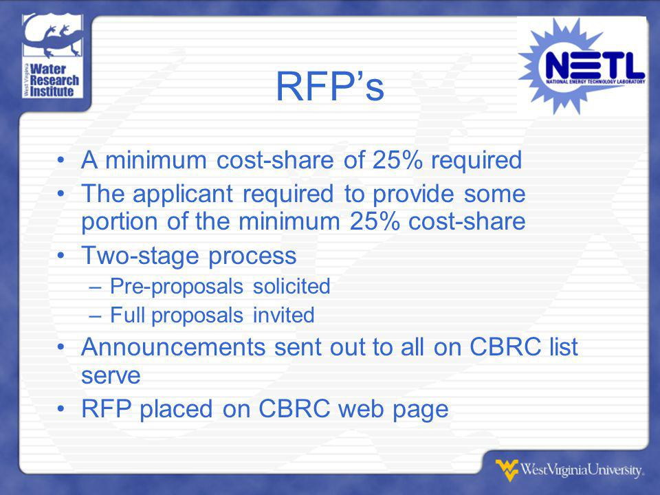 RFP's A minimum cost-share of 25% required The applicant required to provide some portion of the minimum 25% cost-share Two-stage process –Pre-proposals solicited –Full proposals invited Announcements sent out to all on CBRC list serve RFP placed on CBRC web page