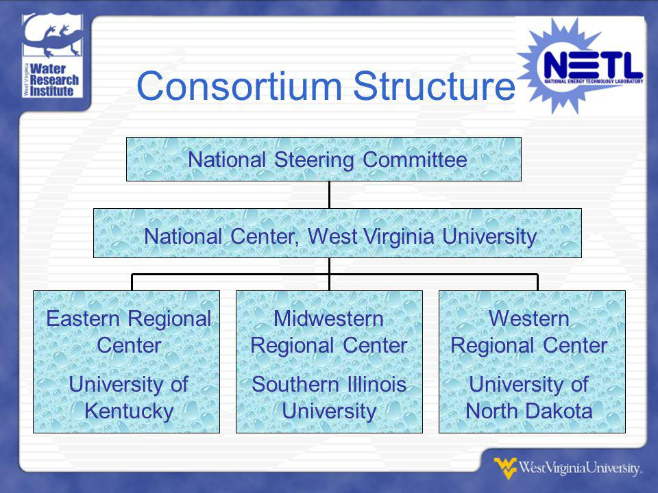 Consortium Structure National Steering Committee National Center, West Virginia University Eastern Regional Center University of Kentucky Midwestern Regional Center Southern Illinois University Western Regional Center University of North Dakota