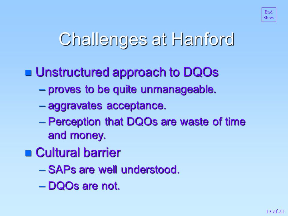 13 of 21 Challenges at Hanford n Unstructured approach to DQOs –proves to be quite unmanageable. –aggravates acceptance. –Perception that DQOs are was
