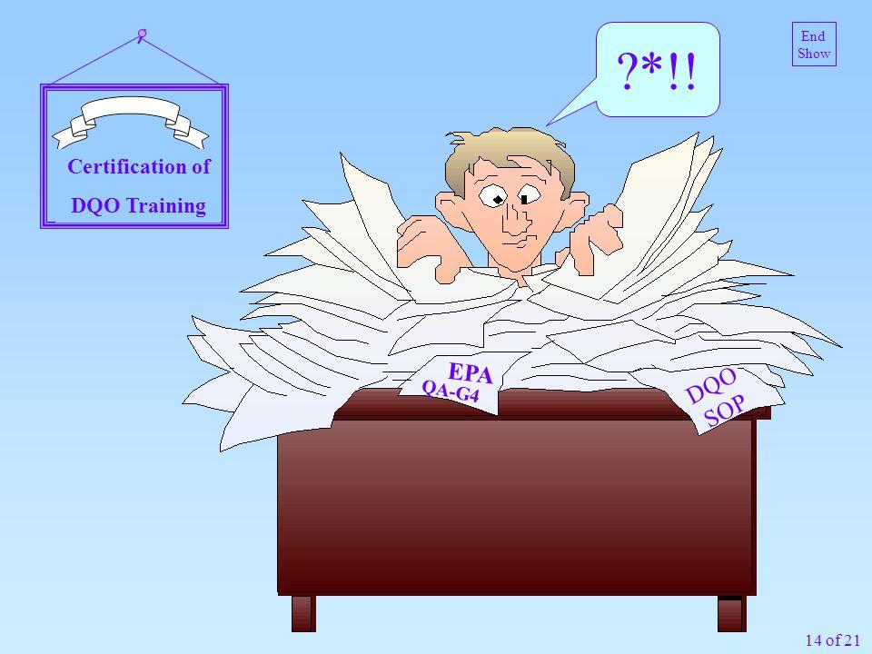 14 of 21 EPA QA-G4 Certification of DQO Training ?*!! DQO SOP End Show