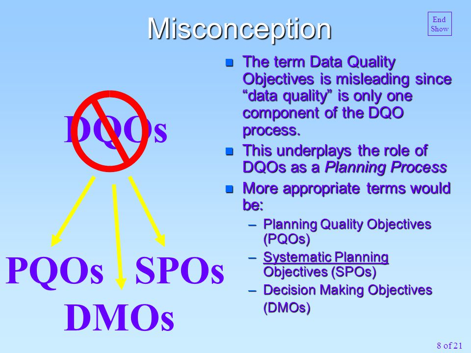 8 of 21 Misconception n The term Data Quality Objectives is misleading since data quality is only one component of the DQO process.