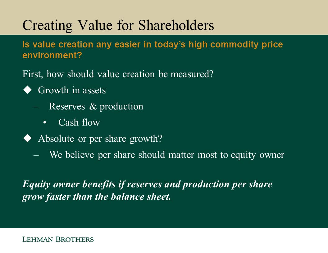 Creating Value for Shareholders Is value creation any easier in today's high commodity price environment.