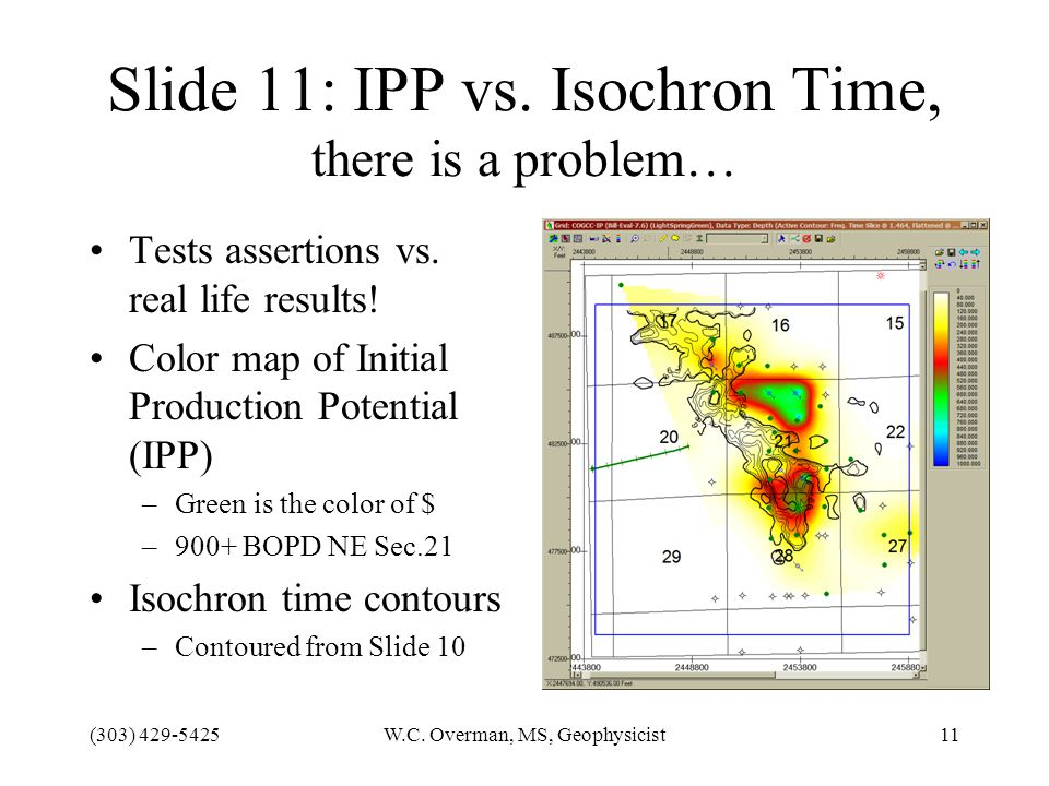 (303) 429-5425W.C. Overman, MS, Geophysicist11 Slide 11: IPP vs.