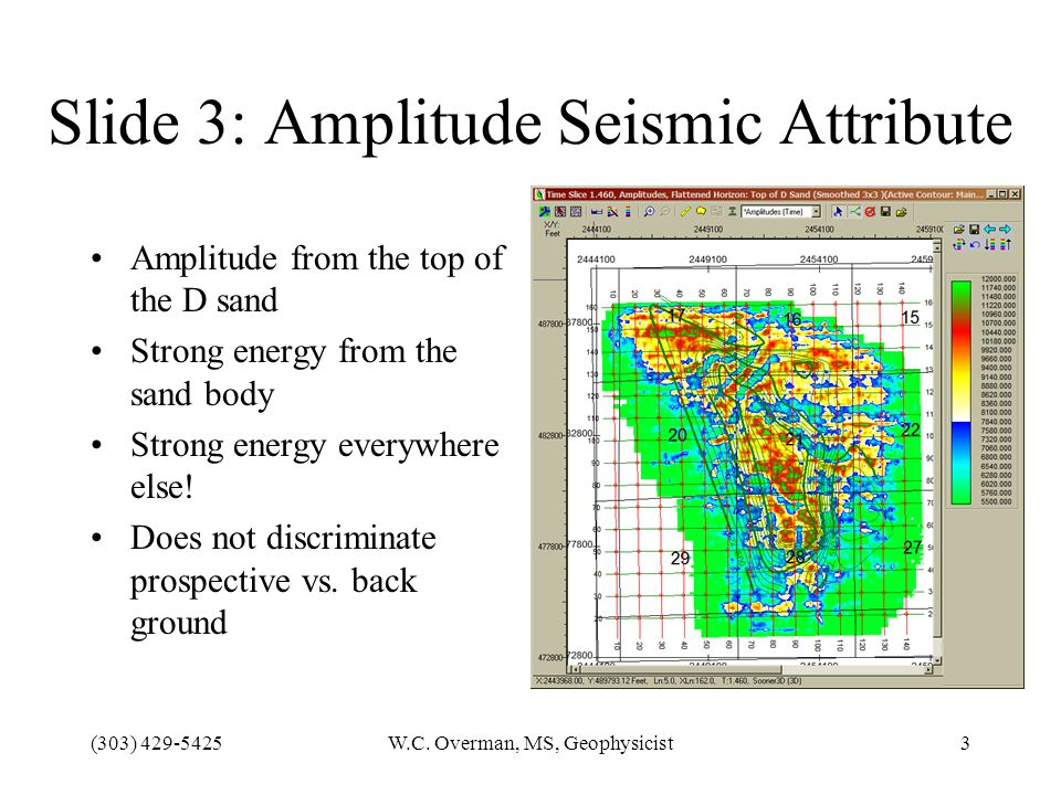 (303) 429-5425W.C. Overman, MS, Geophysicist3 Slide 3: Amplitude Seismic Attribute Amplitude from the top of the D sand Strong energy from the sand bo
