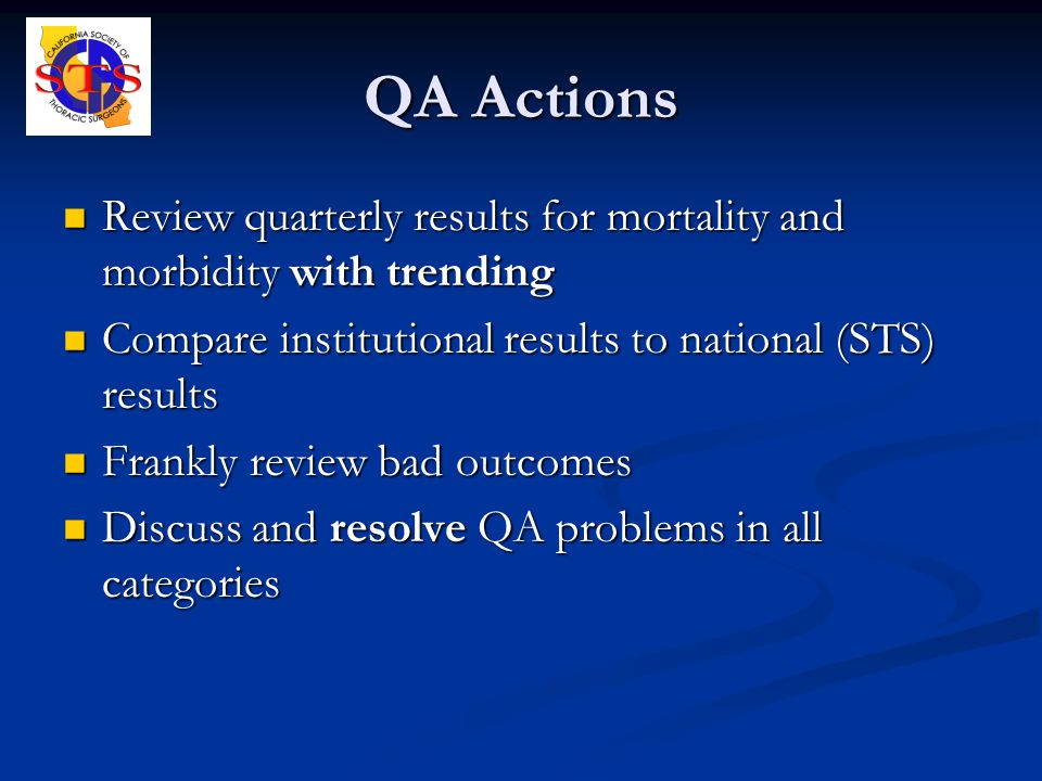 QA Actions Review quarterly results for mortality and morbidity with trending Review quarterly results for mortality and morbidity with trending Compare institutional results to national (STS) results Compare institutional results to national (STS) results Frankly review bad outcomes Frankly review bad outcomes Discuss and resolve QA problems in all categories Discuss and resolve QA problems in all categories