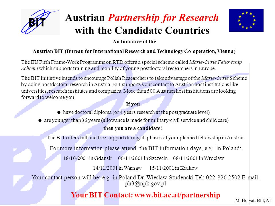 M. Horvat, BIT, AT Austrian Partnership for Research with the Candidate Countries An Initiative of the Austrian BIT (Bureau for International Research