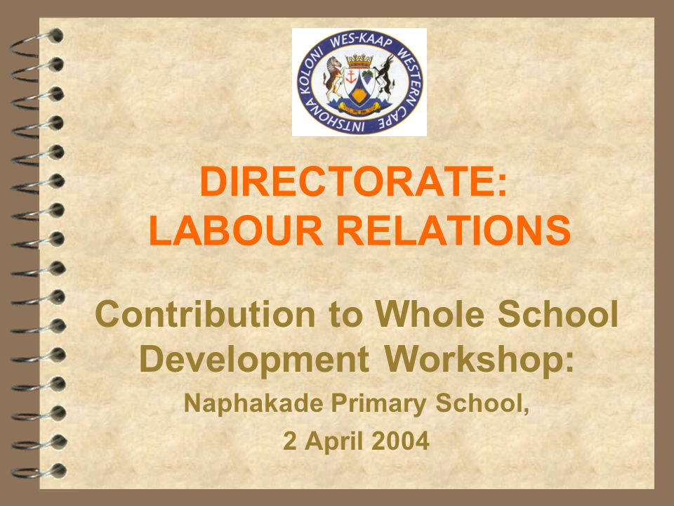 DIRECTORATE: LABOUR RELATIONS Contribution to Whole School Development Workshop: Naphakade Primary School, 2 April 2004