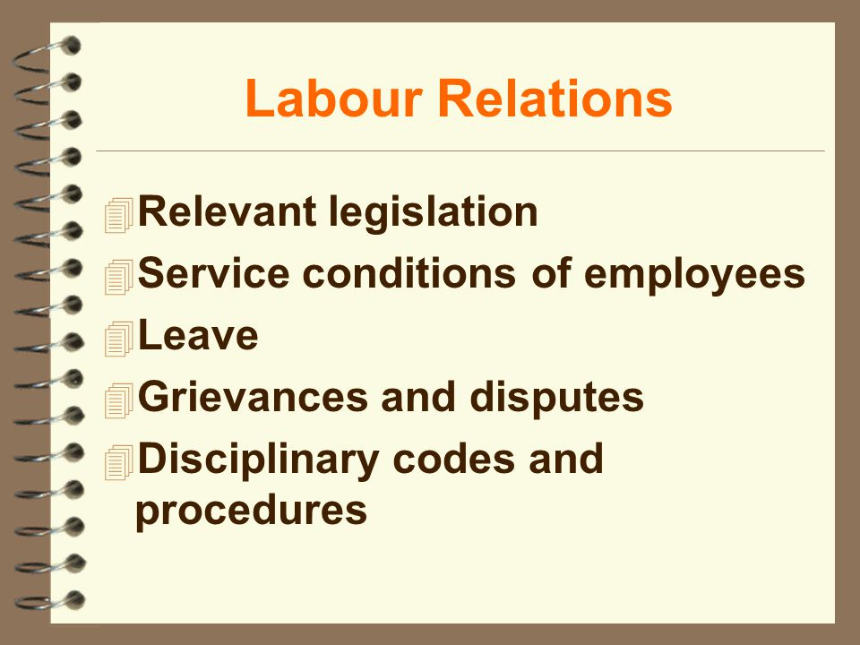 Labour Relations 4 Relevant legislation 4 Service conditions of employees 4 Leave 4 Grievances and disputes 4 Disciplinary codes and procedures