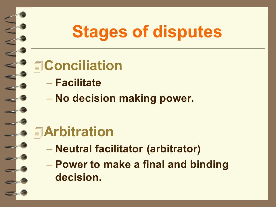 Stages of disputes 4 Conciliation –Facilitate –No decision making power. 4 Arbitration –Neutral facilitator (arbitrator) –Power to make a final and bi