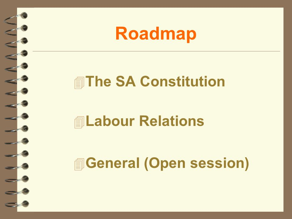 Roadmap 4 The SA Constitution 4 Labour Relations 4 General (Open session)