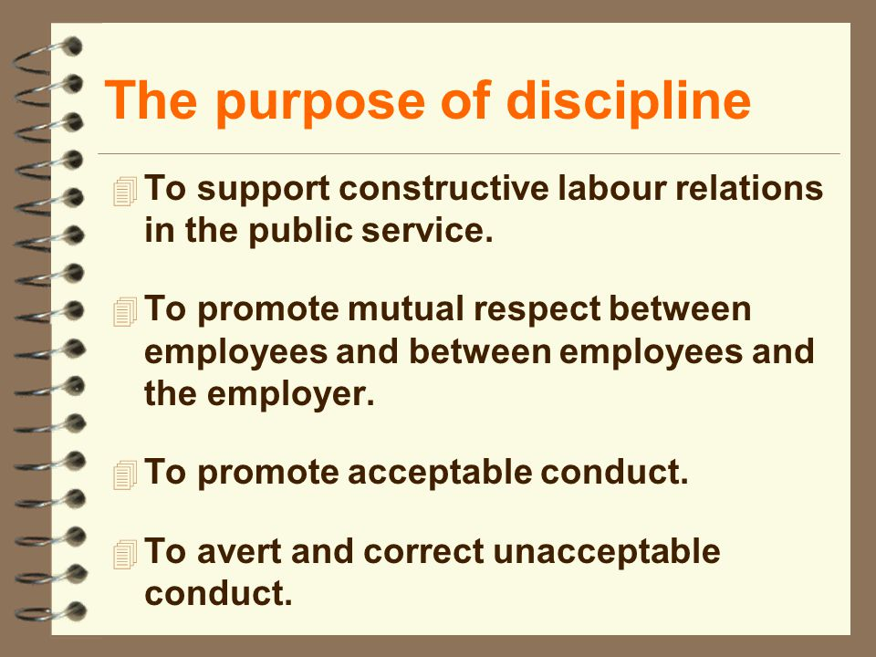 The purpose of discipline 4 To support constructive labour relations in the public service. 4 To promote mutual respect between employees and between