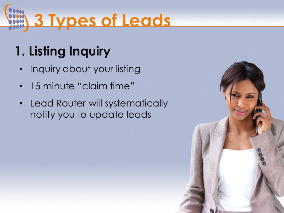 3 Types of Leads What Kind of Inquiry? Listing Inquiry Direct to Agent Inquiry General Inquiry An Inquiry Arrives from One of Our Internet Sources