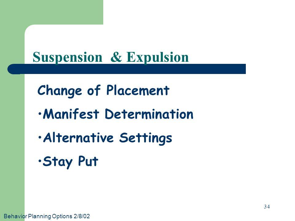 Behavior Planning Options 2/8/02 34 Suspension & Expulsion Change of Placement Manifest Determination Alternative Settings Stay Put